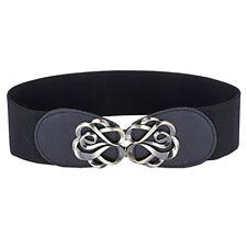 Women Fashion Wide Stretchy Waist Belt Waistband Hollow Metal Buckle For Dress