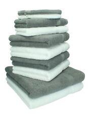 Juego de toallas PREMIUM, 10 piezas, color: gris antracita y blanco - 2 manoplas
