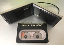 SONY WM-20 Cassette Player Walkman Black! + SS-WM20 Sony Folding Speakers