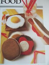 Vintage Sewing Pattern Jean Greenhowe FAST FOOD Hamburger Hot Dog giocattolo etc