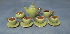 1/12TH DOLLS HOUSE 11 PC PORCELAIN 1930's STYLE GREEN/GOLD TEA OR COFFEE SET
