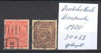 Deutsches Reich Dienstmarke 1920 Michel Nr. 30+33 gestempelt