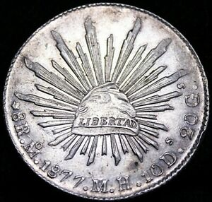 Mexico 1877 MO MH  8 Real  Mexico City Mint Limited Date  Re6f 50-710