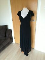 Ladies BHS Dress Size 12 Black Long Midi Chiffon Party Evening Occasion