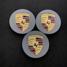 3x Original Porsche Enjoliveur Cache-Moyeux Platine Mat Soie 7L5601149