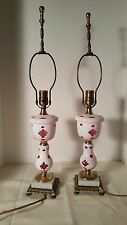 Pair of Vintage Layered Cased White Cut to Cranberry Ruby Red Glass Lamps