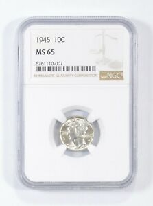MS65 1945 - Mercury Silver Dime - NGC Graded *676