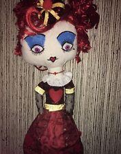 """Queen Of Hearts Handmade Rag Doll Ooak Alice In Wonderland 17"""""""
