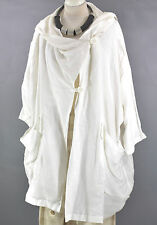 FAB GERMAN  100% LINEN CHAMPAGNE WHITE layering ASYMMETRIC  COAT  size  L/XL/XXL