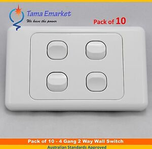 10 pieces - 4 Gang 2 Way Electrical Wall Light Switch SAA