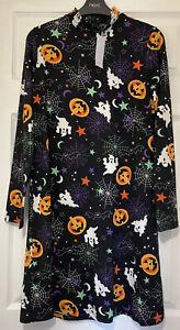 Papaya Ladies Black Halloween Print Dress Size 8