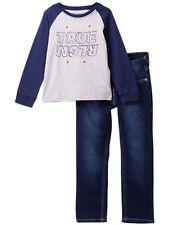 Nwt True Religion Sz6T Branded 2 Piece Set Graphic Print Grey Tee/Jeans Blue $89