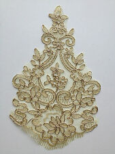 Gold Floral Embroidery Applique Motif Lace Trim   (EB0151) Haberdashery