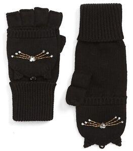 Kate Spade New York Gloves Cat Embellished Pop Top Mittens Black