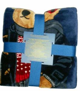 "Polo Ralph Lauren Winter Bear Navy logo Throw Blanket 50"" x 70"" nwt"