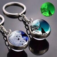 Men Double Side Glass Ball Keychain Women Moon Keyring Wolf Pendant Key Chains