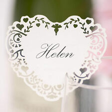 10 WHITE WINE GLASS PLACE NAME CARDS Laser Cut VINTAGE ROMANCE Heart Wedding