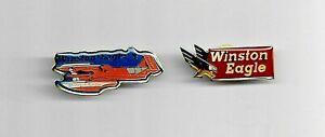 WINSTON EAGLE Hydroplane BOAT RACING Tack Pin & WINSTON EAGLE Logo Pin HAT Mint
