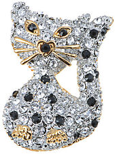 Hot Alloy Crystal Elements Heart Accent Nose Petite Kitty Cat Fashion Pin Brooch