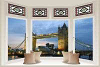 Huge 3D Bay Window London Bridge View Wall Stickers Mural Wallpaper 260