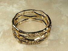 Elasticated Stretch Bracelet Gold and Crystal