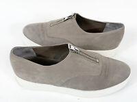 VINCE Women's Warner Zip front Platform Sneakers Gray Nubuck Leather Sz 9