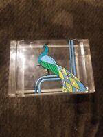 Plastic Peacock Bird Design Jewelry Trinket Box Vintage