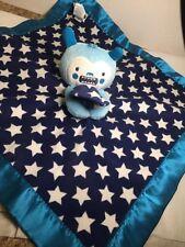 Old Navy Blue Monster White Stars Baby Boy Security Blanket Lovey Satin