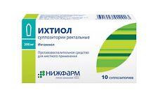 Rectal suppositories anti-inflammatory with ichthyol (ichtammol) 2 x10pcs ichthy