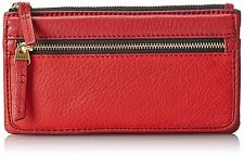 NEW-FOSSIL ERIN FLAP CLUTCH SCARLET RED LEATHER WALLET