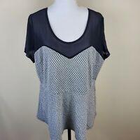 Torrid Polka Dot Peplum Top Shirt Blouse Mesh Shoulders Short Sleeve Plus Size 2