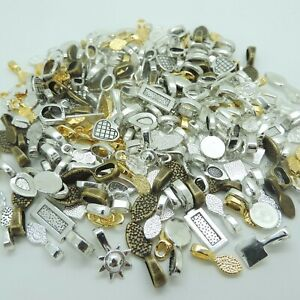 glue on earring bails silver color lot of 144