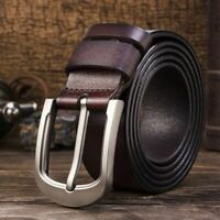Genuine Leather Men's Belt Buckle Waist Strap Smooth Cow Waistband Casual Luxury