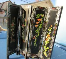 Dollhouse Miniature Furniture Privacy Screen Divider Hand Painted Floral Black