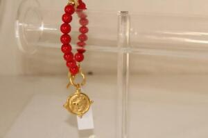 Red Coral 24k Gold-Plated Bulldog Bracelet - New