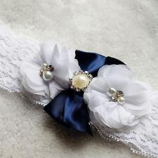 Vintage Lace Pearl Rhinestone Wedding Bridal Garter Blue White Flowers