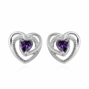 """African Amethyst 925 Sterling Silver """"Heart"""" Stud Earrings"""