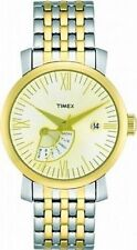 NEW-TIMEX TWO TONE SILVER & GOLD LADY RETROGRADE BRACELET WATCH T2M427
