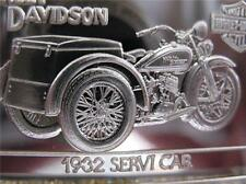 1.4- OZ. 999 PURE SILVER 1932 SERVI-CAR HARLEY DAVIDSON 90TH ANNIVERSY BAR+GOLD
