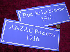 Replica Copy  Metal  French Street Sign your text or wording design ANZAC Somme?