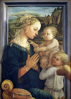Handpainted Oil painting portraits madonna_and_child_with_angels in landscape