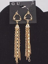 Guess Goldtone AFTER DARK Black Triangle Set Stone Chain Tassel Earrings