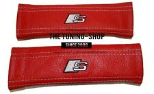 """2x Seat Belt Covers Pads Red Leather """"S-line"""" Embroidery for Audi"""
