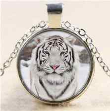 White Tiger Cabochon Photo Glass Tibet Silver Chain Pendant Necklace