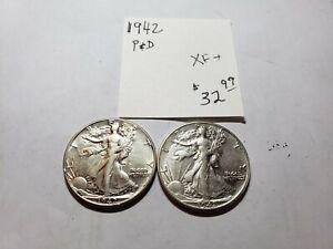 1942 P & D Walking Liberty Half Dollars  XF+ - USC-0207