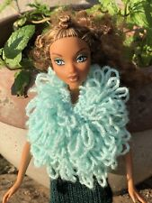 Hand Knitted  Doll Clothes For Barbie / Sindy Sparkly Green SleeveLess Jacket