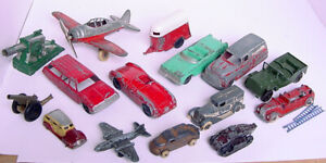 OLD TOOTSIETOY MANOIL BARCLAY HUBLEY CAST METAL TRUCK CAR AIRPLANE CANNON LOT