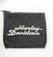 Harley Davidson Motorcycle Genuine Leather Coin ID Zip Up Pouch Case VINTAGE USA