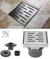 "4"" Shower Square Drain Stripe Pattern Threaded Adapter Adjustable Leveling Feet"