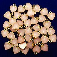 10pcs Wrapped Pink Titanium Crystal Heart Pendant Bead 13x12x2mm DC20195509